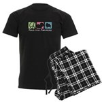 Peace, Love, Pomeranians Men's Dark Pajamas