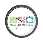 Peace, Love, Pomeranians Wall Clock