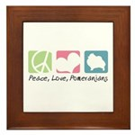 Peace, Love, Pomeranians Framed Tile