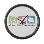 Peace, Love, Pomeranians Large Wall Clock