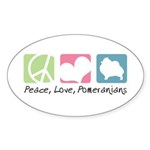Peace, Love, Pomeranians Sticker (Oval 10 pk)