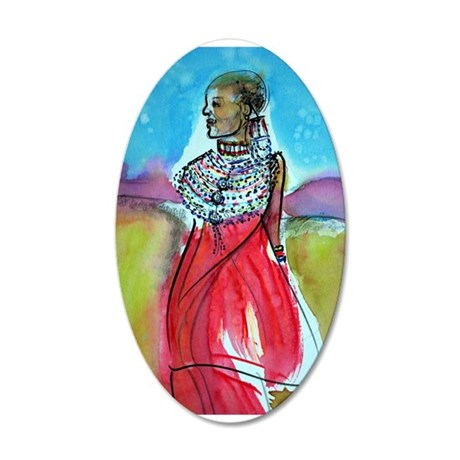 African, Lady, Colorful, art, 38.5 x 24.5 Oval Wal