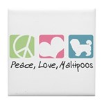 Peace, Love, Maltipoos Tile Coaster
