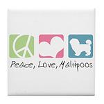 Peace, Love, Maltipoos Tile Coaster