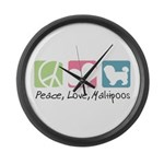 Peace, Love, Maltipoos Large Wall Clock