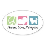 Peace, Love, Maltipoos Sticker (Oval 10 pk)
