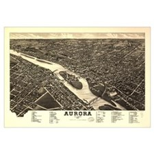 Aurora IL. Antique map.