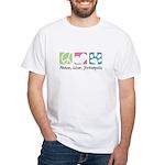 Peace, Love, Yorkiepoos White T-Shirt