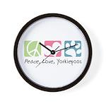 Peace, Love, Yorkiepoos Wall Clock