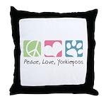 Peace, Love, Yorkiepoos Throw Pillow