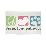 Peace, Love, Yorkiepoos Rectangle Magnet (100 pack
