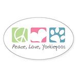 Peace, Love, Yorkiepoos Sticker (Oval 10 pk)