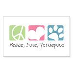 Peace, Love, Yorkiepoos Sticker (Rectangle 10 pk)