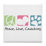 Peace, Love, Cavachons Tile Coaster
