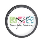 Peace, Love, Cavachons Wall Clock