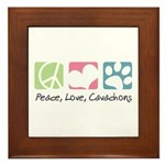 Peace, Love, Cavachons Framed Tile