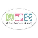 Peace, Love, Cavachons Sticker (Oval 10 pk)