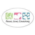 Peace, Love, Cavachons Sticker (Oval 50 pk)