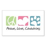 Peace, Love, Cavachons Sticker (Rectangle 50 pk)