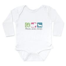 Peace, Love, Corgis Long Sleeve Infant Bodysuit