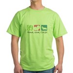 Peace, Love, Corgis Green T-Shirt