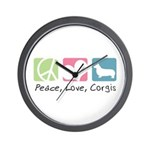 Peace, Love, Corgis Wall Clock