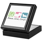 Peace, Love, Corgis Keepsake Box