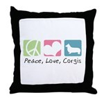 Peace, Love, Corgis Throw Pillow