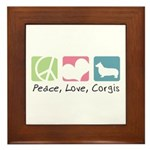 Peace, Love, Corgis Framed Tile