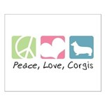 Peace, Love, Corgis Small Poster