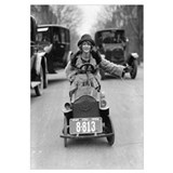 Flapper Girl Driving Pedal Car, 1924.