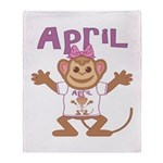 Little Monkey April Throw Blanket