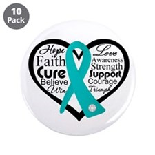 "PCOS Heart Collage Ribbon 3.5"" Button (10 pack)"
