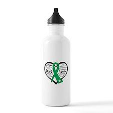 Liver Disease Heart Ribbon Water Bottle