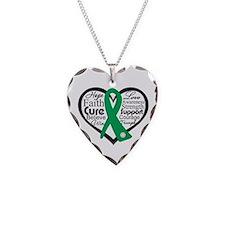 Liver Disease Heart Ribbon Necklace