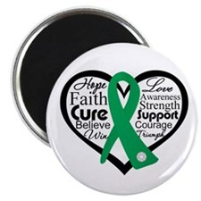 "Liver Disease Heart Ribbon 2.25"" Magnet (100 pack)"