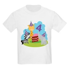 4th Birthday Zoo Animals T-Shirt