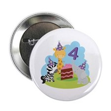 "4th Birthday Zoo Animals 2.25"" Button"