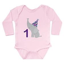 1st Birthday Elephant Long Sleeve Infant Bodysuit