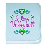 I Love Volleyball baby blanket