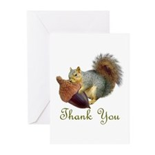 Squirrel Acorn Thank You Greeting Cards (Pk of 10)