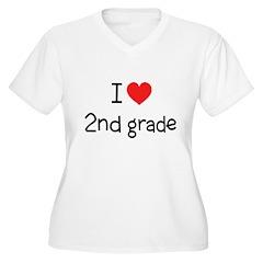 I Love 2nd Grade: Women's Plus Size V-Neck T-Shirt