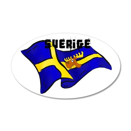 Swedish Moose Flag 35x21 Oval Wall Decal