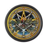 Yule Pentacle Large Wall Clock
