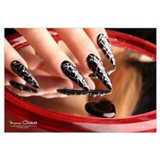 Nail Art - Black/Silver Stilettos