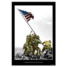 Raising the Flag on Iwo Jima - Partial Colorized