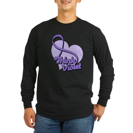 Hodgkins Lymphoma Think Violet Long Sleeve Dark T-