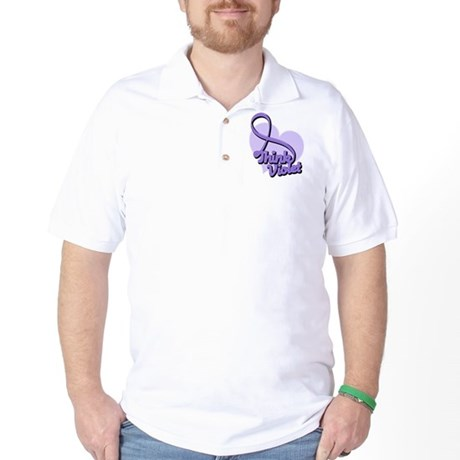 Hodgkins Lymphoma Think Violet Golf Shirt