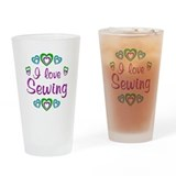 I Love Sewing Drinking Glass