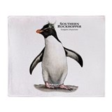 Southern Rockhopper Penguin Throw Blanket